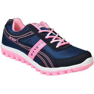 Asian Ladies Comfortable Running Navy Pink Color Sports Shoes