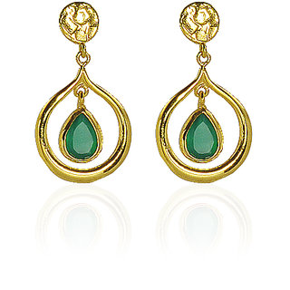 Irene Decent 18k Gold Plated Earring With Green Onyx Gemstone For Women