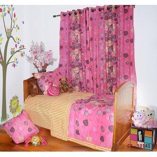 Pink Floral Print Single Bedding Set - 6 Pieces