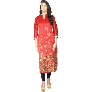 RED kurtis for women  MINSA women's silk long RED embroidery kurtis ( Size 44)