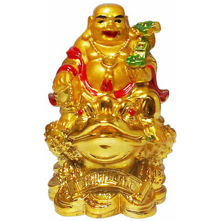 ReBuy GOLDEN LAUGHING BUDDHA SITTING ON MONEY FROG 3inches