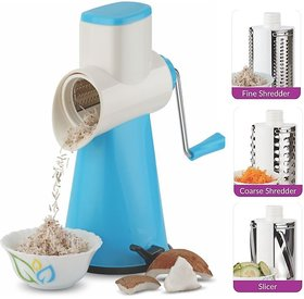 Ankur Drum Grater, Shredder, Slicer For Vegetables, Fruits Choclates, DryFruits, Etc with 3 Stainless Steel Blades- Blue