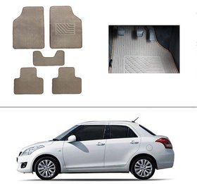 AutoStark Best Quality Set of 5 Carpet Beige Car Foot Mat / Car Floor Mat for Maruti Suzuki Swift Dzire (Old)