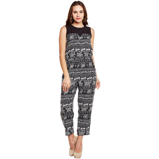 bc1f1dcba372 Buy Eyelet Black Printed Poly Crepe Women s Jumpsuit Online   ₹549 from  ShopClues