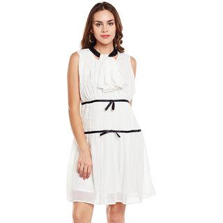 Eyelet White Ruffle & Pleated Women's A-Line Dress