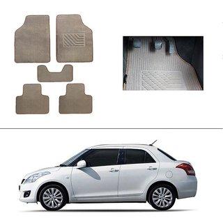 AutoStark Best Quality Set of 5 Carpet Beige Car Foot Mat / Car Floor Mat for Maruti Suzuki Swift Dzire (Old)