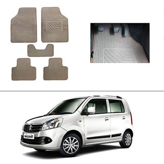 AutoStark Best Quality Set of 5 Carpet Beige Car Foot Mat / Car Floor Mat for Maruti Suzuki Wagon R