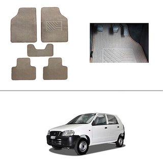 AutoStark Best Quality Set of 5 Carpet Beige Car Foot Mat / Car Floor Mat for Maruti Suzuki Alto (Old)