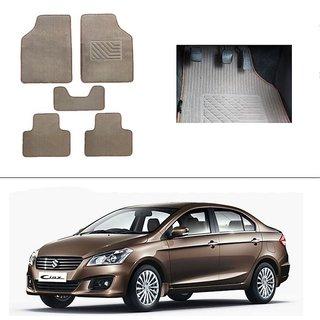 AutoStark Best Quality Set of 5 Carpet Beige Car Foot Mat / Car Floor Mat for Maruti Suzuki Ciaz