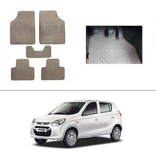 AutoStark Best Quality Set of 5 Carpet Beige Car Foot Mat / Car Floor Mat for Maruti Suzuki Alto-800