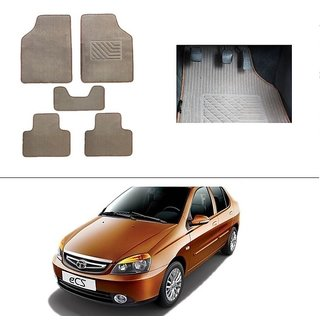 AutoStark Best Quality Set of 5 Carpet Beige Car Foot Mat / Car Floor Mat for Tata Indigo Ecs