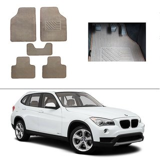 AutoStark Best Quality Set of 5 Carpet Beige Car Foot Mat / Car Floor Mat for BMW X-1