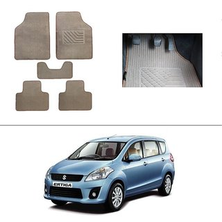AutoStark Best Quality Set of 5 Carpet Beige Car Foot Mat / Car Floor Mat for Maruti Suzuki Ertiga