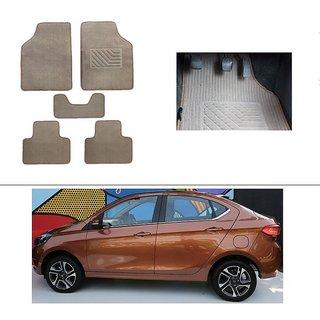 AutoStark Best Quality Set of 5 Carpet Beige Car Foot Mat / Car Floor Mat for TATA Tigor