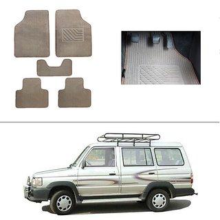 AutoStark Best Quality Set of 5 Carpet Beige Car Foot Mat / Car Floor Mat for Toyota Qualis