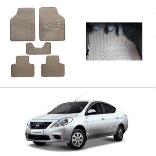 AutoStark Best Quality Set of 5 Carpet Beige Car Foot Mat / Car Floor Mat for Nissan New Sunny