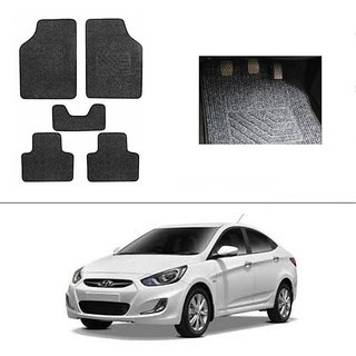AutoStark Best Quality Set of 5 Carpet Black Car Foot Mat / Car Floor Mat for  Hyundai Verna Fluidic