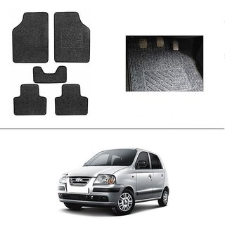 AutoStark Best Quality Set of 5 Carpet Black Car Foot Mat / Car Floor Mat for  Hyundai Santro Xing