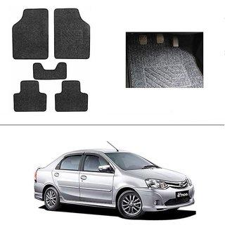 AutoStark Best Quality Set of 5 Carpet Grey Car Foot Mat / Car Floor Mat for Toyota Etios