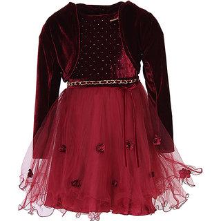 Cutecumber+Dresses 944D+Party Wear Girls Dress+(Plum)