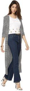 Raabta Black N white Strip Long Cardigan