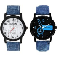 Gen-Z Combo Of 2 Youth Denim Watches