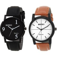 Gen-Z Combo Of 2 Youth Black And Brown Watches