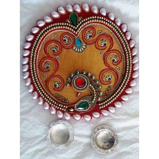 Wooden Thali - Peacok Design with 2 Metal Thali