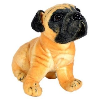 Brown Pug Dog Stuffed Soft Plush Toy 12 Inch for Kids Gift by ReBuy