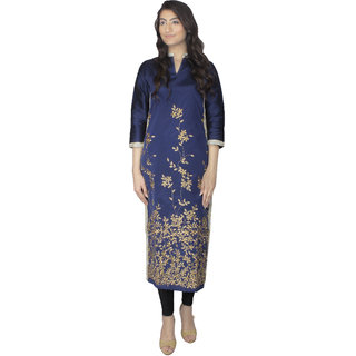 MINSA women's blue long silk embroidery kurti