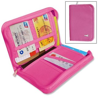 House of Quirk Travel Passport Wallet  Document Holder (Hot Pink)