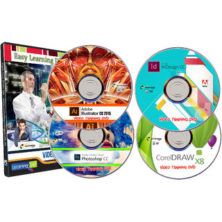 Adobe Photoshop CC Illustrator CC InDesign CC CorelDRAW X8 Video Training Tutorials Combo Pack on 4 DVDs