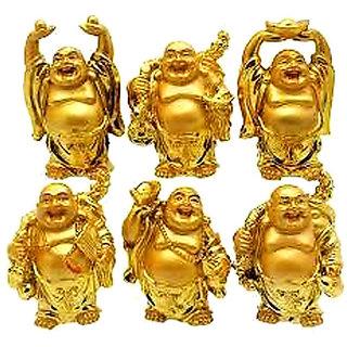 Gauri Fengshui Laughing Buddha Set Of 6 Golden
