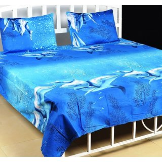 Home Furnishing 3D Printed Double Bedsheet with 2 Pillow Covers