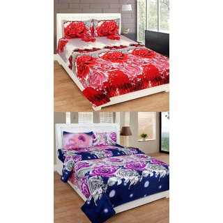 Beautiful floral 3d combo cotton 2 double bedsheet with 4 pillow cover(3dbs084)