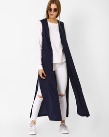 Fabrange Navy Crepe Shrug For Women