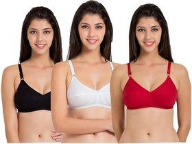 Fashionable Multi-Color cotton women bra set of 3