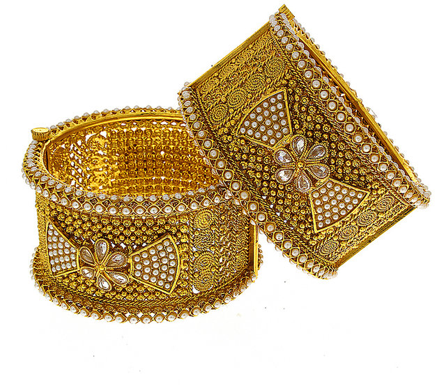Anuradha Art Golden Colour Simple Beautiful Adjustable Kada//Hand Bracelet for Women//Girls