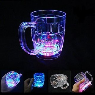 SCORIA Fibre Glass Beer Mug With Inductive Rainbow Color Disco Led 7 Colour Changing Liquid Activated Lights Multi Purp