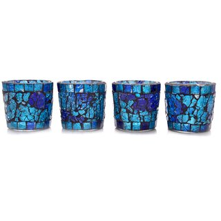 Crafted Ideas T Lite Votive Holder In Mosaic Glass (4 Pc Set) (Size 6Cm Top Diameter X 6Cm Height )