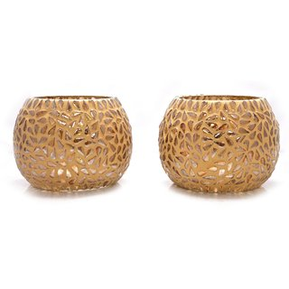 Crafted Ideas T Lite Votive Holder In Mosaic Glass (2 Pc Set) (3.5 Height X 3.5 Top Diameter, 4.75 Middle Diameter )