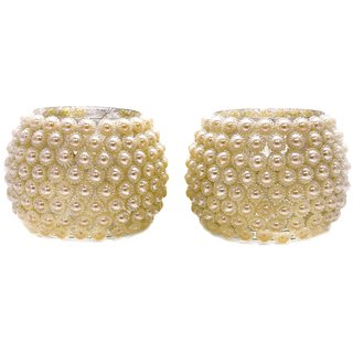 Crafted Ideas T Lite Votive Holder In Beadwork (2 Pc Set) (3.5 Height X 3.5 Top Diameter, 4.75 Middle Diameter )