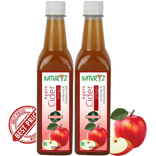 Naturyz Apple Cider Vinegar 500 ml (Pack of 2) with Mother Vinegar, Natural, Raw, Unfiltered, Undiluted