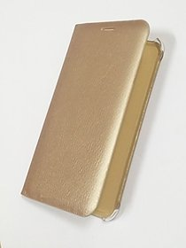 BS Premium Leather Flip Cover Case With Pocket For LAVA A67 (GOLDEN)