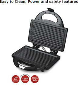 Lifelong LLSM114G (750Watt) 4 Slice Grill Sandwich/Toaster maker (black)