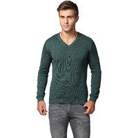 GOAT Men's Green Solid V-Neck Pullover