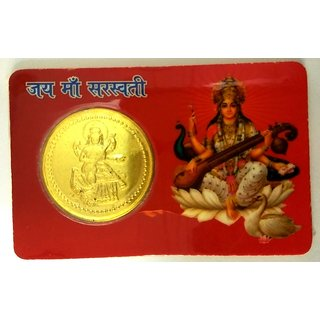Saraswati Gold Coin Yantra Yantram God Of Good Luck Prosperity Energized Pocket Gifts