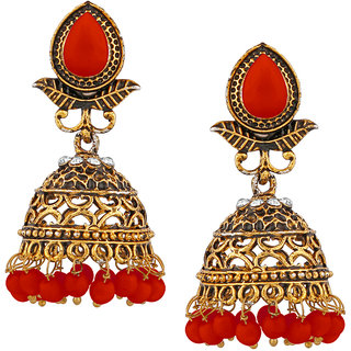 JewelMaze Gold Plated Red Beads Jhumki Earrings