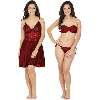 d783764bf3 Buy Klamotten Multicolor Satin Solid Night Gowns   Nighty Online ...