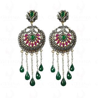 Pearl, Ruby & Emerald Studded Earrings In 925 Sterling Silver